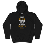 """She Flies"" State Motto with Wings - Kids Hoodie - Oregon Born"