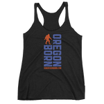 Oregon Born Vertical w/ Bigfoot (Blue & Orange) - Women's Racerback Tank - Oregon Born