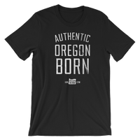 Authentic Oregon Born - Stack - Unisex Tee (White) - Oregon Born