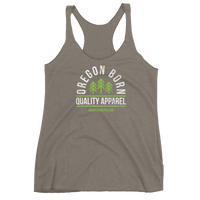 "Oregon Born ""Quality Apparel 2"" in Green & White - Women's Racerback Tank - Oregon Born"