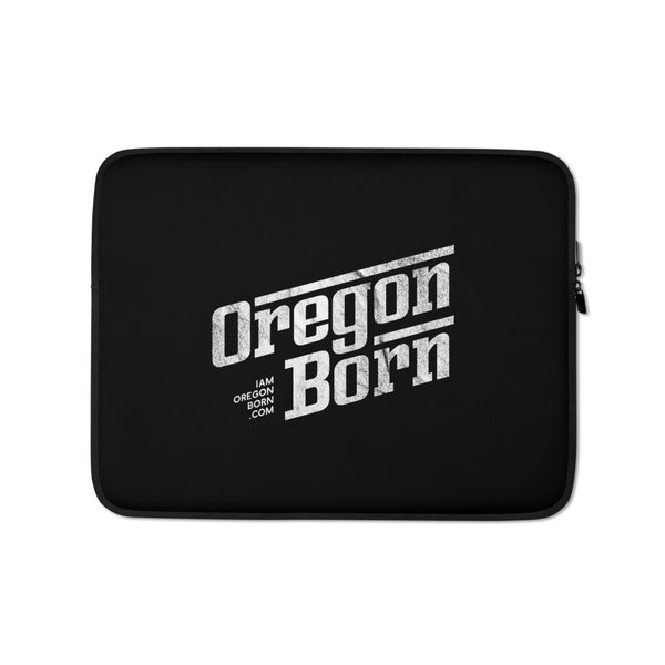 Oregon Born - Retro/Slant in White - Laptop Sleeve - Oregon Born