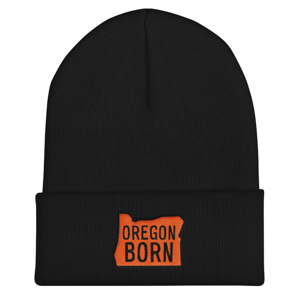 'Oregon Born' Logo - Knit Beanie - Oregon Born