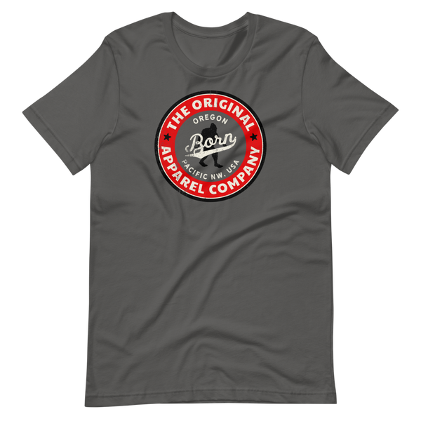 OREGON BORN RED WITH BIGFOOT -Short-Sleeve Unisex T-Shirt