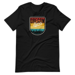 OREGON BORN SHIELD VINTAGE SUNSET - Short-Sleeve Unisex T-Shirt