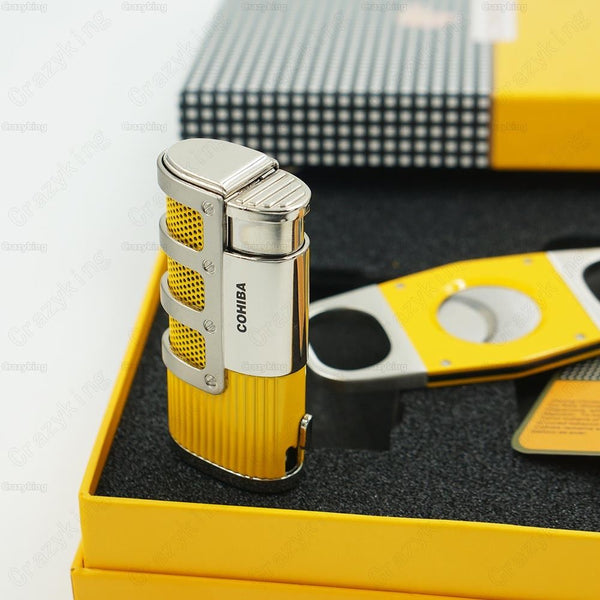 Yellow Metal 3 Torch Jet Flame Cigar Lighter Gift Set