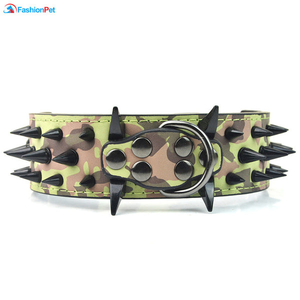 Big Dog Collar with Black Spikes