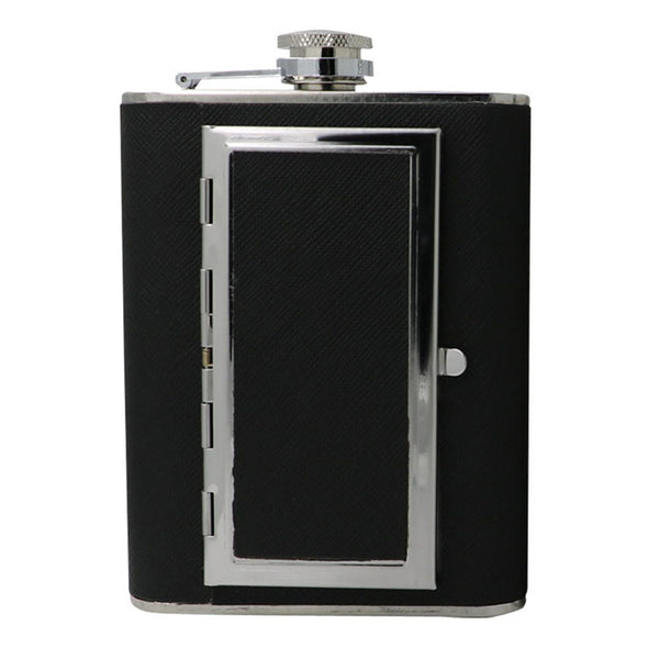 Flask with Built-in Cigarette Case