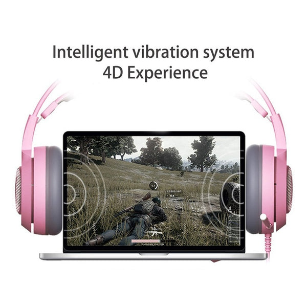 Virtual Surround Sound Cat Gaming Headphones With Mic