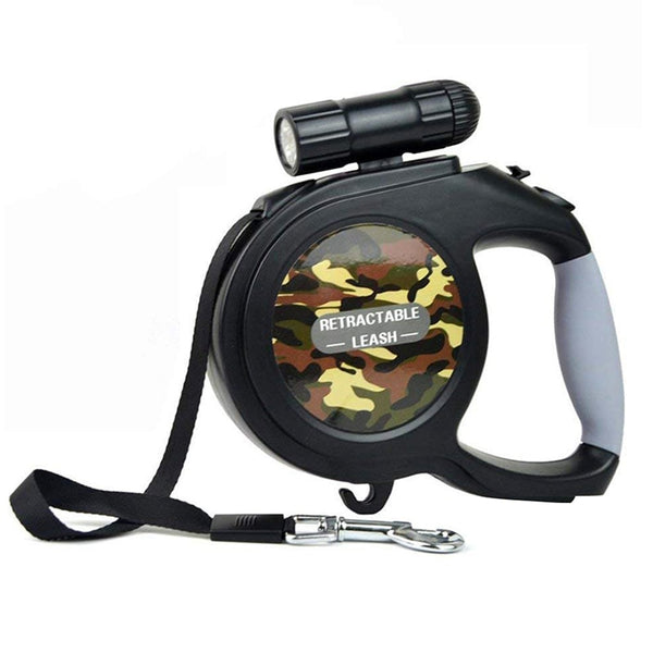26 ft Retractable Dog Leash with Detachable Flashlight