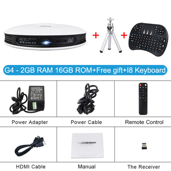 4K HD Home Cinema Projector with Keyboard
