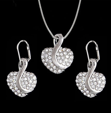 Fashion Silver Jewelry Sets Pendant & Necklaces Drop Earrings