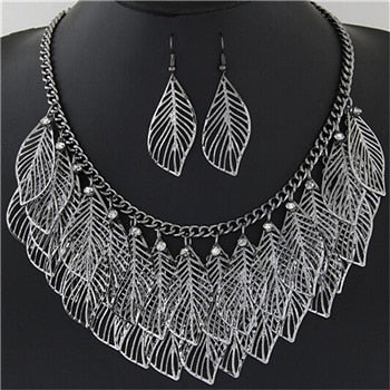 Luxury Bib Bohemian Statement Leaves Long Maxi Tassel