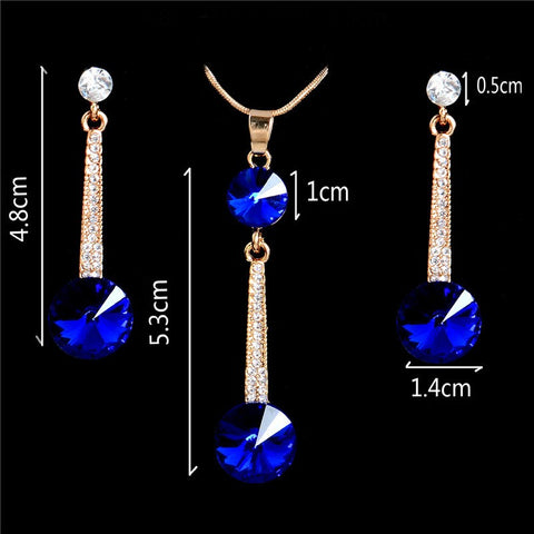 ZOSHI Royal Blue Austria Crystals Drop Earrings and Pendant Necklace
