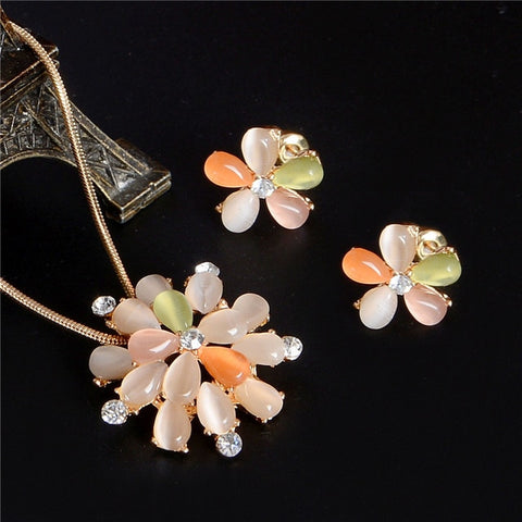 ZOSHI Luxury Austrian Crystal Opal Flower Pendant jewelry Set