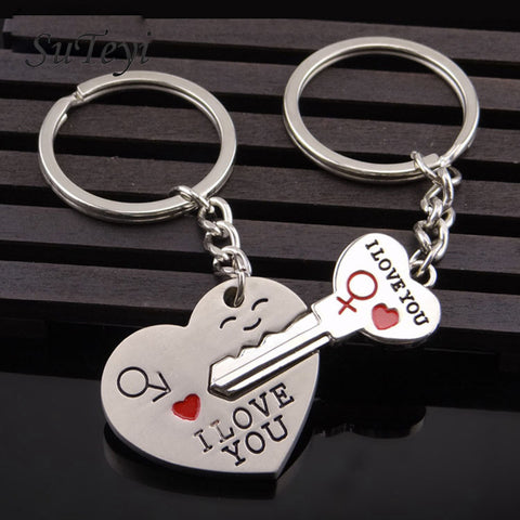 Heart Key Ring Silver Color Lovers Love Key Chain