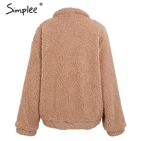 Simplee Faux lambswool oversized jacket coat
