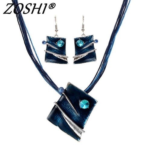 ZOSHI Fashion Jewelry Set Multilayer Leather Chain