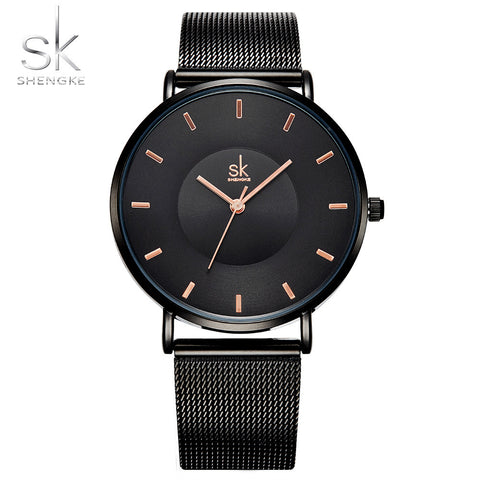Shengke Fashion Black Women Elegant Watches 2018