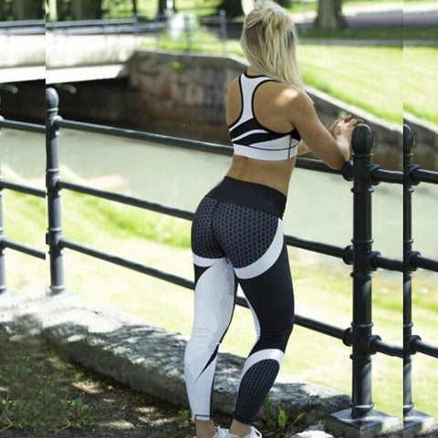 Hayoha Mesh Pattern Print Leggings fitness Leggings