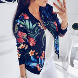 New Ladies Ribbed Trim Flower Print Bomber Jacket