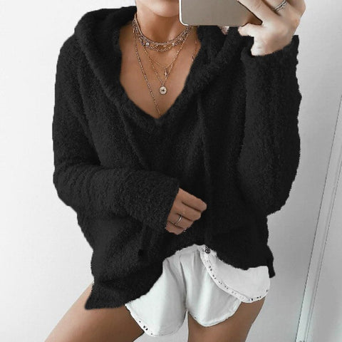 2018 Hot Sale Top Women Casual Mohair Hooded Pullovers