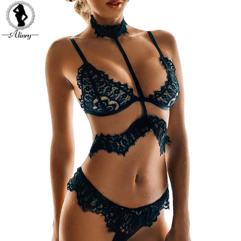 ALINRY Hot Sale sexy lace bra set black floral transparent