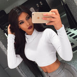 Sexy T Shirt Women Long Sleeve Turtleneck