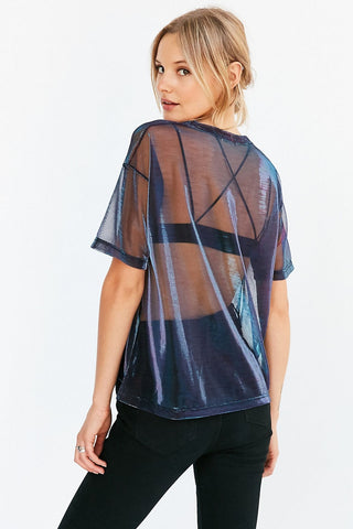Seily 2018 Sexy Holographic Mesh Sheer Top T Shirt