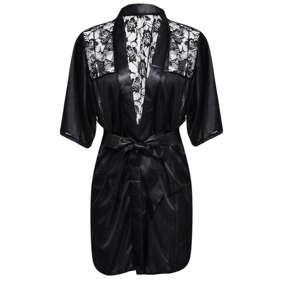 New Hot Sexy Lingerie Plus Size Satin Lace Black Kimono