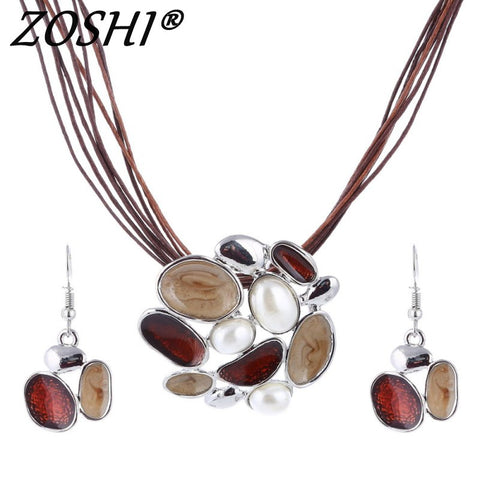 ZOSHI Summer Enamel Delicate Jewelry Sets Multi Layers