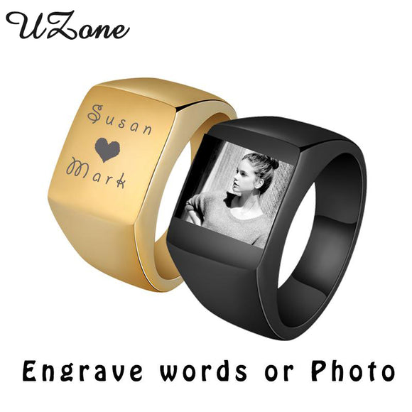 Personalize Stainless Steel Mens Signet Rings