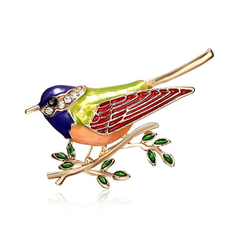 Rhinestone Colorful Enamel Oriole Bird Branch Brooch Pins