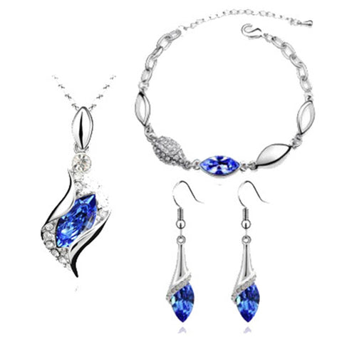 Luxury Austrian Crystal Jewelry Set Silver Gold Chain