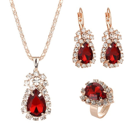 Wedding Gift Jewelry Gold Crystal Earrings Necklace