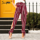 Simplee Striped print harem pants capri Hot sale