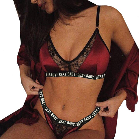 Plus Size Sexy Lingerie Set Bralette Women Bra Red Hot Sale