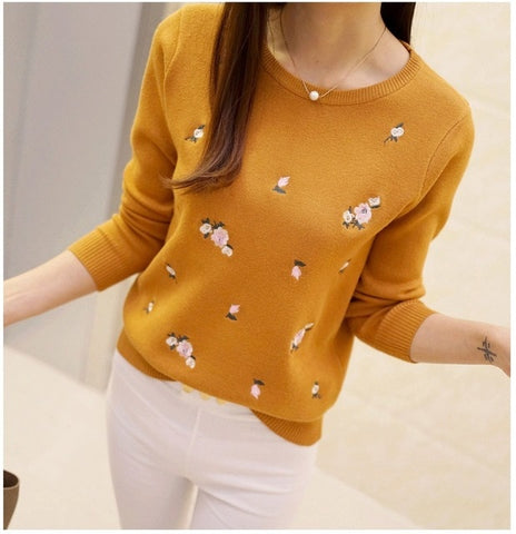 2018 Autumn Sweater Women Embroidery Knitted Winter