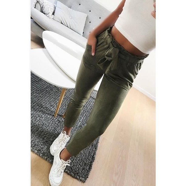 2018 New style Fashion Women suede pants style