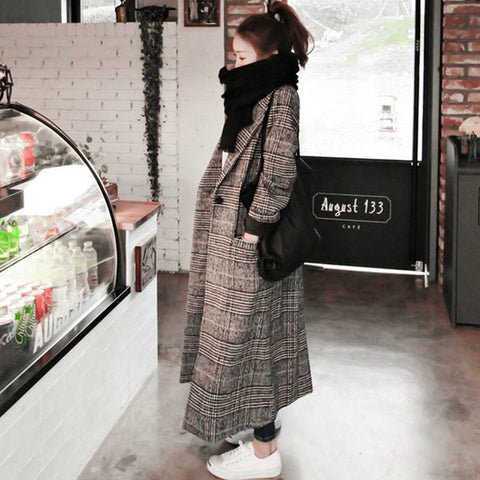 Women plaid long coat long sleeve woollen overcoat