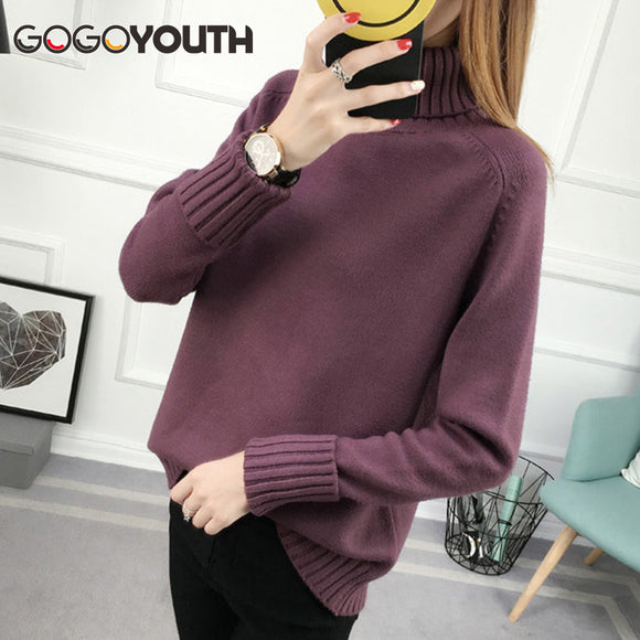 Surmiitro Winter Sweater Women Turtleneck 2018