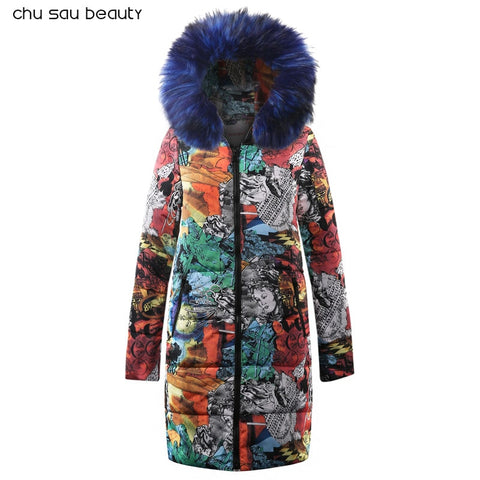 Big fur winter coat thickened parka women 2018