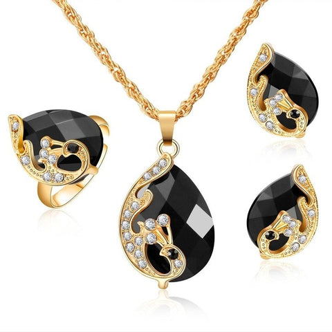 Dark Zircon Bridal Gold colorJewelry Sets