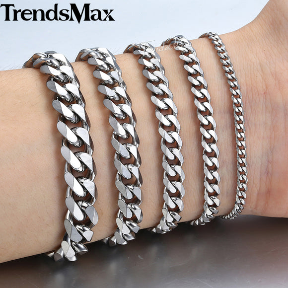 Men's Bracelets Silver Stainless Steel 2018