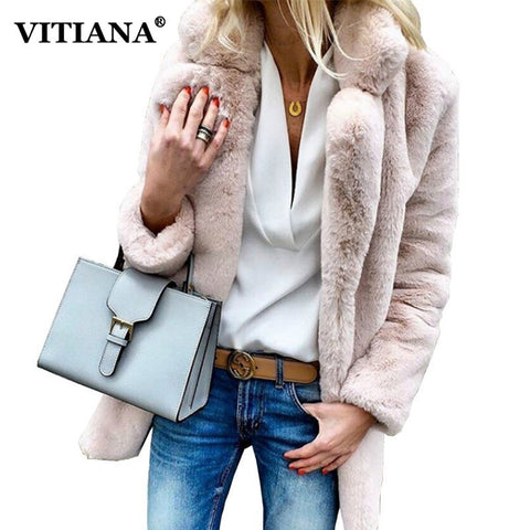 VITIANA Women Plus Size Colored Casual Faux Fur Coat