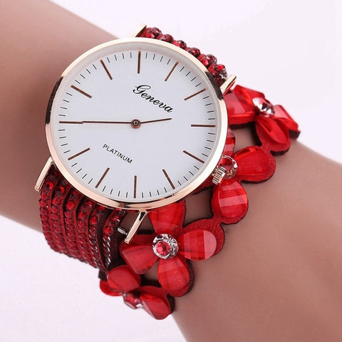 Fashion Geneva Flowers Watches Women Dress Elegant