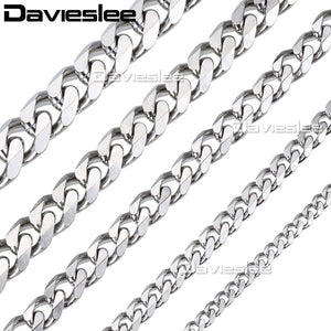 Davielsee Mens Necklace Chain Stainless Steel Gold Silver Black