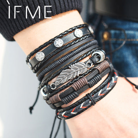 IF ME Vintage Leaf Feather Multilayer Leather Bracelet Men