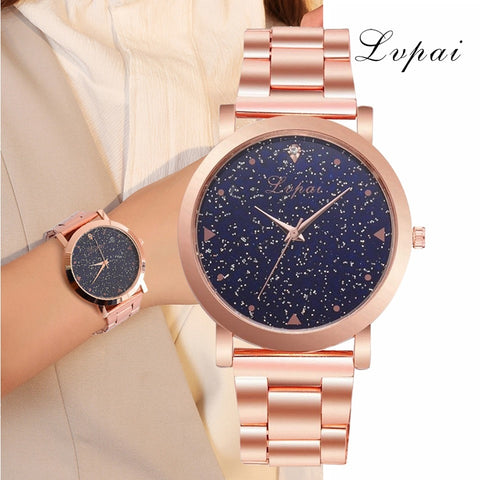 Women Dress Watches Rose Gold Stainless Steel Lvpai