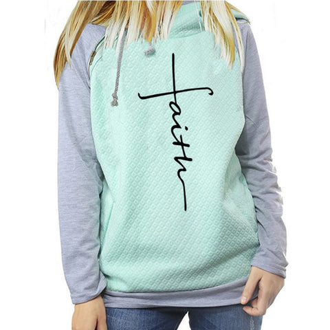 2018 New Fashion Faith Print Shirt Female long sleeve casual Christmas Gift Japan