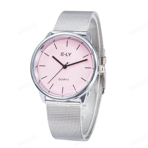 Luxury Colorful Dial Mesh Stainless Steel Watch Women